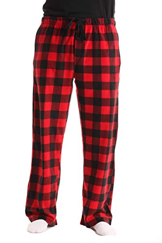 #FollowMe 45902-1A-S Polar Fleece Pajama Pants for Men/Sleepwear/PJs, Red Buffalo Plaid, Small