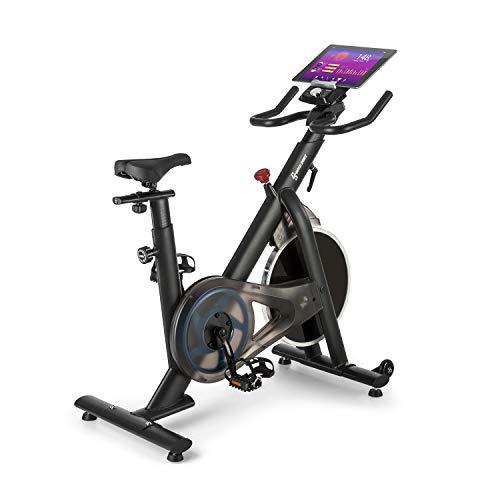 Capital Sports Evo Race - Bicicleta estática, Ordenador de entrenamiento, Carga máx. 120 kg, Resistencia magnética continua, Volante de aluminio, Sillín ajustable 13 niveles, Ruedas transporte, Negro