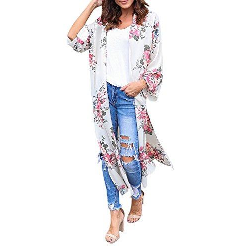 DAY.LIN Kleidung Damen Womens Chiffon Blumendruck Beachwear Kimono Bikini Boho Cardigan Sieben-Punkte-Ärmel Chiffon Langen Kimono-Cardigan (M)