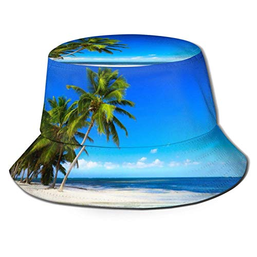 COOL-SHOW Sombrero reversible de palmeras y mar transparente para pescador, unisex, para viajes, playa, sombrero de sol