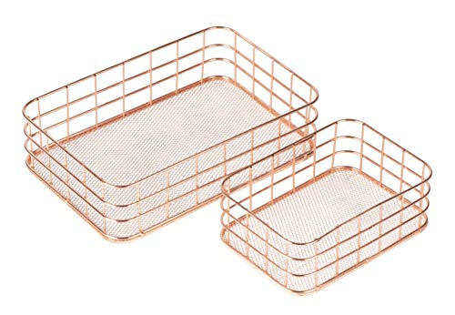 Metal Storage Baskets, Copper Wire Basket Organizer (Rose Gold, 2 Piece Set)