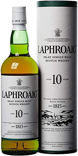 Laphroaig Single Malt Scotch Whisky - Whisky Escoces, 10 Años, 40%, 700 ml