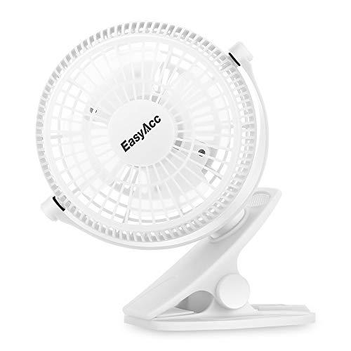EasyAcc 720° Drehung Clip Schreibtisch Ventilator Mini Lüfter USB Tischventilator Tragbarer Ventilatoren für Haus Büro Schlafzimmer und Mehr - Weiß
