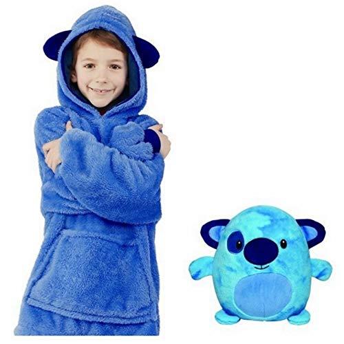 Neue Hoodie Decke Kinder, 2 in 1 Sweatshirt Decke und Kissen Tier süße warme Bequeme Plüsch Dicke TV-Sofa mit Kapuze Decken mit Ärmeln Robe Nachtwäsche für Kinder Mädchen Jungen ( Color : Blau )