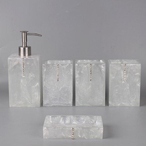 HJKY badkameraccessoires set Modern en minimalistisch bad 5-delige set Continentaal spoelbeker badkamer wastafel badkamer badkamer toiletartikelen zijn onderdeel van de Baiyu Diamond 5-delige set
