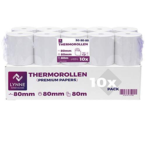 Thermorollen 80mm x 80m x 12mm - Kassenrollen - Bonrollen für Registrierkasse mit Bondrucker - Thermopapier – BPA Frei (10 Rollen)