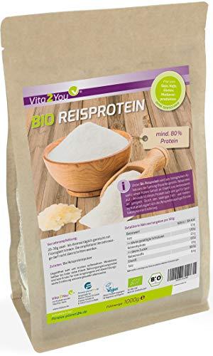 Bio Reisprotein 1kg im Zippbeutel - mind. 80% Protein - Eiweiss - Glutenfrei - 1er Pack (1000g) - Premium Qualität