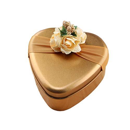 OurLeeme Mini Cajas de Regalo con empaque, Caja de Dulces Florales de Chocolate, delicadas y duraderas, Vintage Caja Ideal para Bodas, cumpleaños, Navidad (Corazón)
