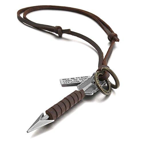 Kaxofang Aleacion Colgante Collar Marron Plata Flecha Vendimia Vintage Retro Ajustable 16~26 Pulgada Cadena Hombre