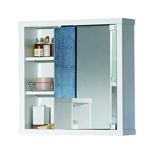 Intradisa 8910 - Armadietto da bagno con 1 anta a specchio laterale bianco