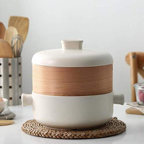 Juego de vaporera con Tapa,ollas de Vapor,Olla de Sopa,Incluye Olla de Barro de cerámica y vaporera de bambú,Olla de Cocina multifunción para cocinar Sopa de Masa de Masa de Masa A 2.5l
