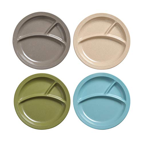 PandaEar Divided Safe Stackable (4 Pack) Authentic Bamboo Baby Toddler Plates Dinnerware, Non-Toxic Dishwasher and Microwave Safe, Eco-Friendly Dinnerware BPA Free(Neutral)