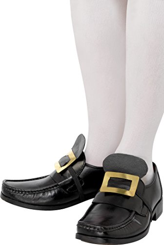 Smiffy's-20252 Metal Buckle of Old England Stories Shoe, Gold, with Elastic Strap, Black Color, Not Applicable (20252)