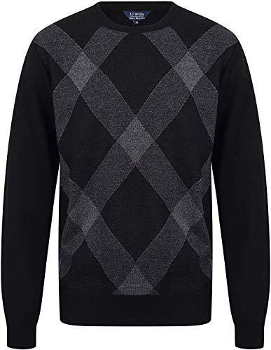 JJ Willis Hombre Rombos Jersey Suéter Jersey Cálido Patrón Rombos Punto Fino Golf Manga Larga Ocasional - Findlay 1, XL