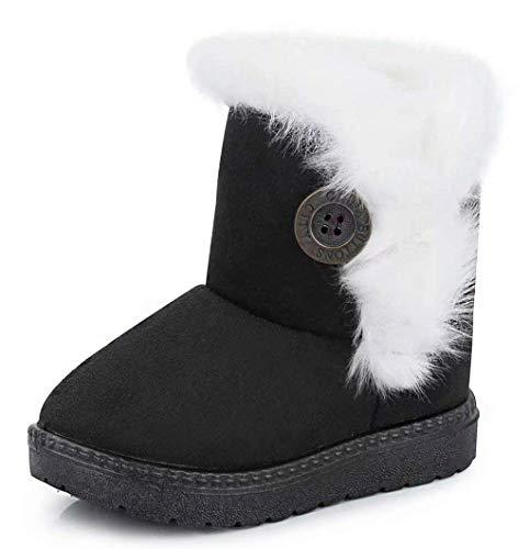 Gaatpot Meisjes Jongens Sneeuwlaarzen Baby Kids Winter Warm Bont Gevoerde Enkellaarsjes Platte Schoenen Zwart Maat 1 UK = 35 CN