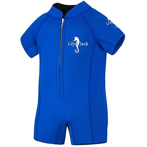 Lily&Jack Toddler & Baby Wetsuit for Boys and Girls 6 Mos. to 2 Yrs. – 3mm, UV Protection, Chlorine/Salt Resistant Neoprene Baby and Kids Wetsuit with Zipper for Warmth, Comfort, Blue