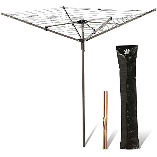 NETTA Rotary Washing Line 4 Arm 45M Dark Green, With Free Cover And Ground Spike Included. Laundry Airer thumbnail image
