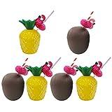 Gadpiparty 6 Juegos de Tazas de Bebida de Piña Coco Fiesta Luau Tazas de Piña con Tapas Y Pajitas...
