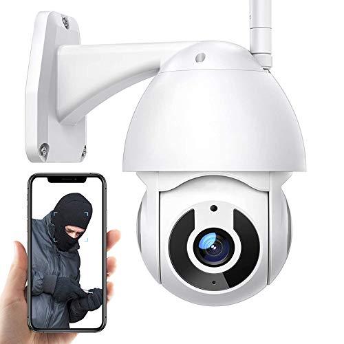 Cámara de Vigilancia WiFi Exteriores,Cámara de seguridad IP ,Cámara PTZ CCTV 1080P HD,IP66 impermeable,visión nocturna 30m,voz de 2 canales,seguimiento de movimiento,alarma (Cámara+tarjeta TF de 32G)