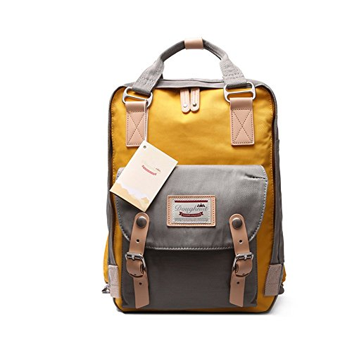 LIYULI Damen Outdoor Rucksack Mode Schulrucksack für Mädchen Backpack Rucksack Schulrucksack rucksäcke mit Laptopfach für Camping Outdoor Sport (Gelb und Grau)