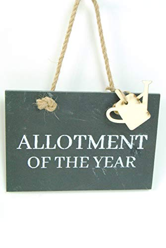 FSL Plaque Hanging Rustic Black Slate Sign ALLOTMENT OF THE YEAR