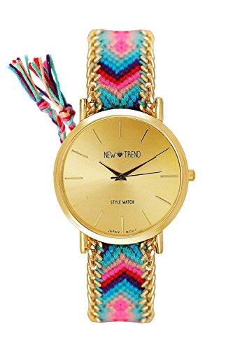 Orologio da polso, da donna, cinturino intrecciato turchese/rosa/oro, stile Hippie Bohemien V6