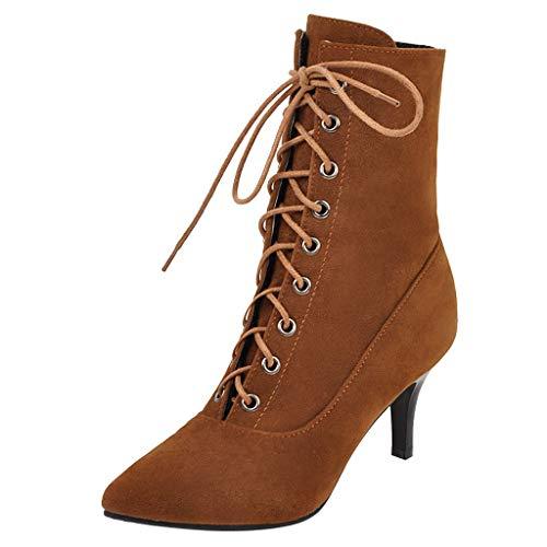 SuperSU-Stiefel Damen Wildleder Riemchen Stiefeletten Casual Fersenstiefel,Frauen Mode High Heel Schuhe Große Größen Bankettstiefel Pointed Toe Stiletto Stiefel 35-43