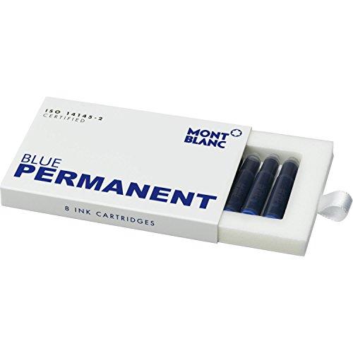 Montblanc Tintenpatronen Permanent Blue 107758 – Hochwertige Tinte für Füllfederhalter Permanent Blau – Dokumentenechte Tinte – 1 Schachtel à 8 Füllerpatronen