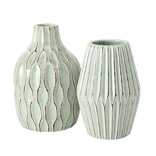 2 x Vase Greenie Steingut hellgrün Höhe 21 cm, Tischdeko, Geschenk, Blumen