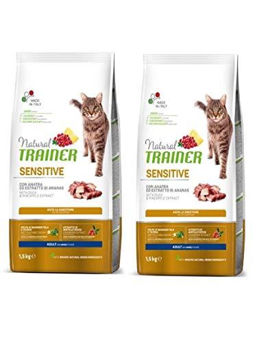 Trainer 2 pacchi da 1.5 kg Natural Sensitive Anatra con estratto di Ananas crocchette per Gatti Adulti Aiuta la digestione