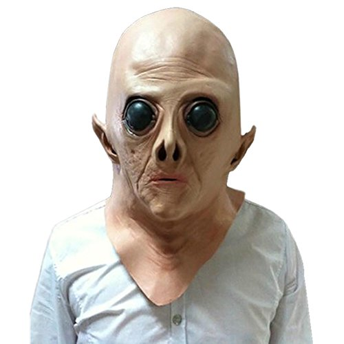 Wakerda 1 Stück Halloween Gruselmaske für Erwachsene Halloween Kopfmaske Alien Kopfbedeckung Karneval Kostüm Party Cosplay (freie Größe)