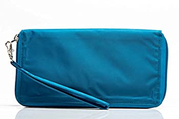 Big Skinny Women s Panther Clutch Slim Wallet Holds Up to 40 Cards Ocean Blue