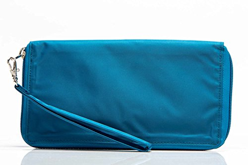 Big Skinny Women's Panther Clutch Slim Wallet, Holds Up to 40 Cards, Ocean Blue