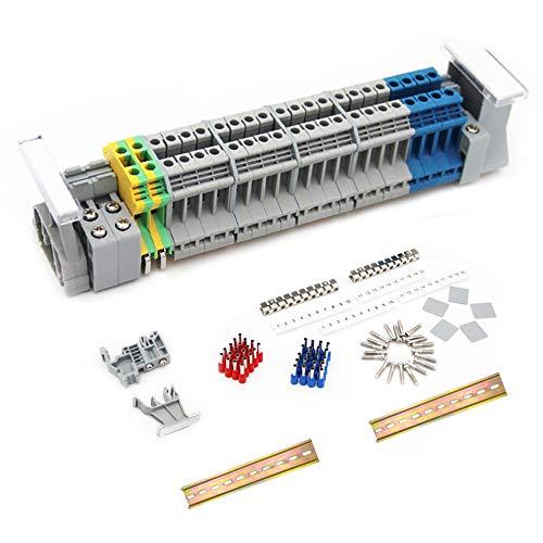 JINXM DIN-Schienenanschlussblock-Kit,Durchgangsklemme UK 2,5 klemmleiste Kit Anschlussblöcke elektrisch