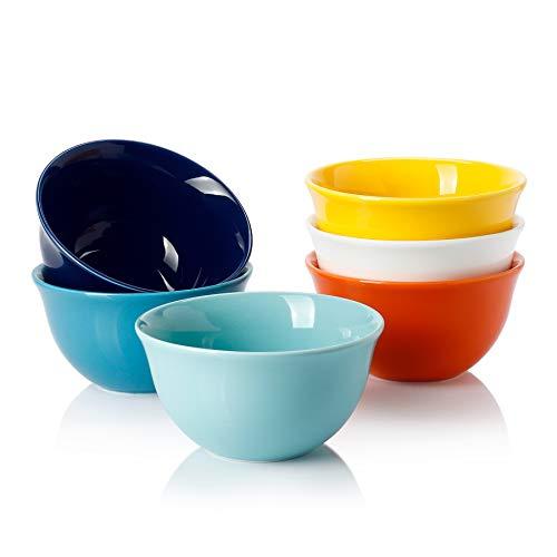 Sweese 122.002 Porcelain Bouillon Cups - 8 Ounce Dessert Bowls - Set of 6, Hot Assorted Colors