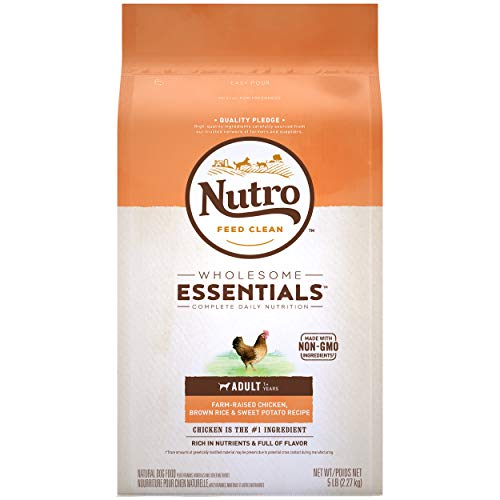 NUTRO WHOLESOME ESSENTIALS Adult Natural Dry Dog Food, Farm-Raised Chicken, Brown Rice & Sweet Potato Recipe Dog Kibble, 5 lb. Bag