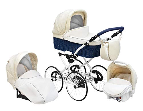 SKYLINE Klassisch Retro Stil Wicker LUX Kombi-Kinderwagen Buggy 3in1 Reise System Autositz (Isofix) (Morning Cream/17