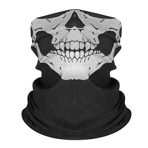 Kim Johanson Multifunktionstuch | Maske | Schlauchtuch | Sturmmaske | Bandana | Totenkopf Halstuch | Skelettmaske für Motorrad Fahrrad Ski Paintball Wandern Skull Waschbar