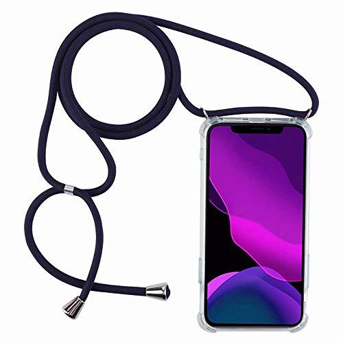 2ndSpring Handykette Schutzhülle kompatibel mit Oppo Find X2 Neo Handyhülle mit Band,Halsband Lanyard Silikonhülle,Blau