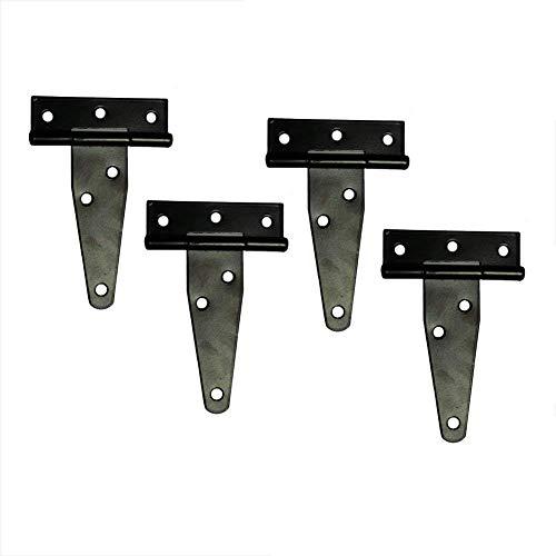 TamBee T-Strap Light Duty Hinge Gate Strap Hinge Door Barn Gates Hinges Black Wrought Hardware Iron Rustproof 4PCS (4inch)