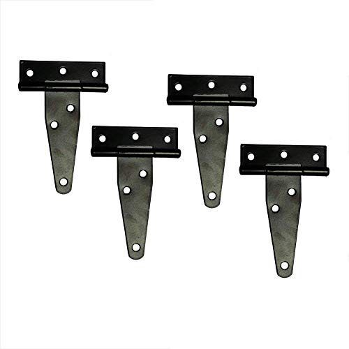 T&B T-Strap Light Duty Hinge Gate Strap Hinge Door Barn Gates Hinges Black Wrought Hardware Iron Rustproof 4PCS (4inch)