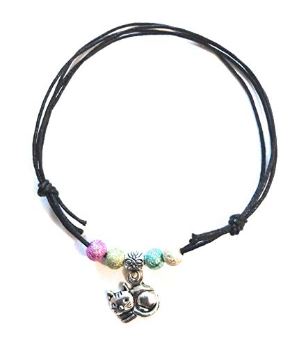 Black Cotton Adjustable Cord Anklet Stardust Beads (Cat)