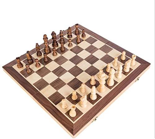 SCRT Ajedrez Conjunto de ajedrez de Madera Plegable magnético Set de ajedrez de Madera Maciza de Tablero de ajedrez magnético Piezas Entretenimiento Juegos de Mesa Niños Regalos de ajedrez
