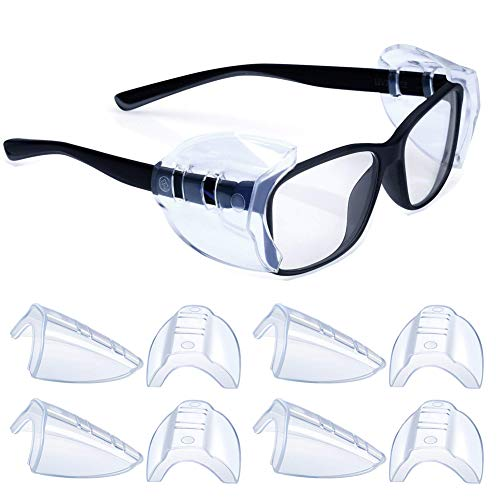 4 Pairs Safety Glasses Side Shields,Slip on Clear Side Shields,Fits Small to Medium Eyeglasses Frames