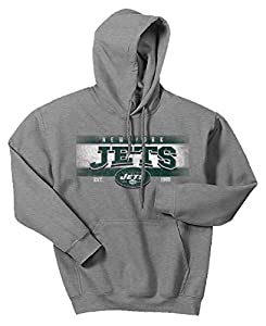 Zubaz NFL New York Jets Men's Banner Logo Hoodie, X-Large, Gray