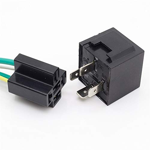 XYHHStor Relé Inactividad Car Relay Socket 40A Relay 1 par de Cables de 12 voltios 12V 40A relé de Coches Relé electrónico,
