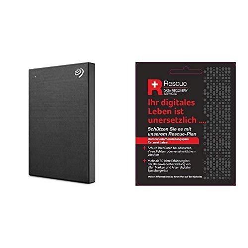 Seagate Backup Plus Slim 1 TB tragbare Externe Festplatte (6,3 cm(2,5 Zoll) USB 3.0, PC und Mac) schwarz + Datenrettungs Service tragbare Externe SSD (6,3 cm(2,5 Zoll) USB-C, USB 3.0, PC und Mac)