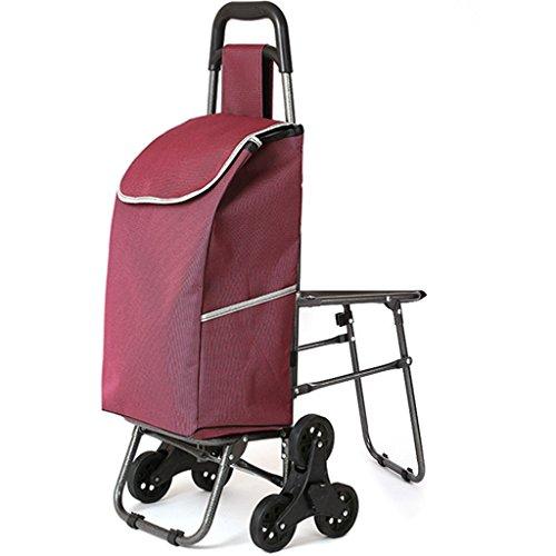 Ali Lamps@ winkelwagen-opstap de trap inklapbaar met stoel-winkelwagen de oudere winkelwagen-hendel-auto-loopkat fuchsia