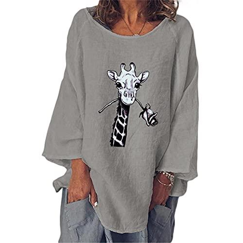 Top con Estampado de Diente de León Camiseta de Manga Larga para Mujer Talla Grande Jersey con Cuello en V Pull-Over Oversized Blusa Otoño e Invierno