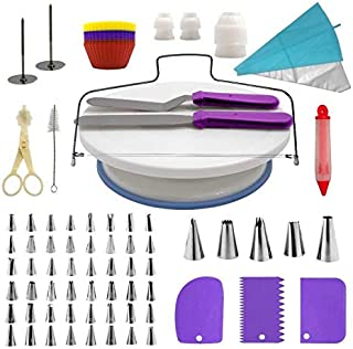 Cake Decorating Supplies Kit, 107 pieces - Cake Stand, Disposable and Reusable Piping Bags, Stainless Steel Piping Tips, S...